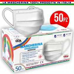 MASCHERINA CHIRURGICA MONOUSO TRE STRATI TNT 100% MADE IN ITALY (CF. 50)