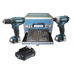 SET TRAPANO + AVVITATORE 10,8 V CON BATTERIE E ACCESSORI MAKITA